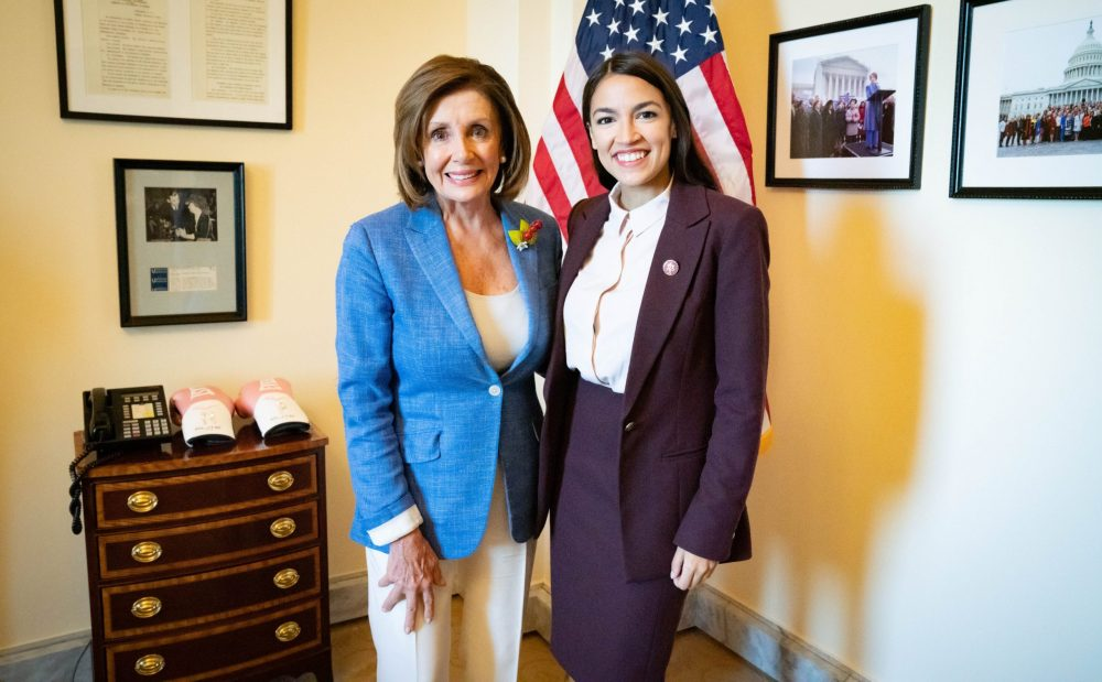 Nancy Pelosi with Rep AOC at the Speakers Room scaled e1586873137144
